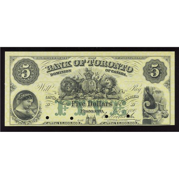 Bank of Toronto $5, 1890 Proof