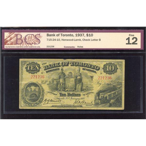 Bank of Toronto $10, 1937