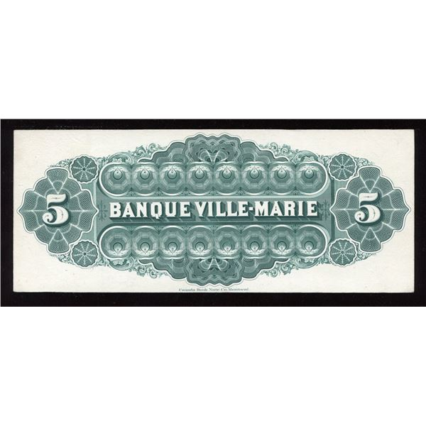 Banque Ville Marie, $5 back proof, Canada Bank Note printing, 1889