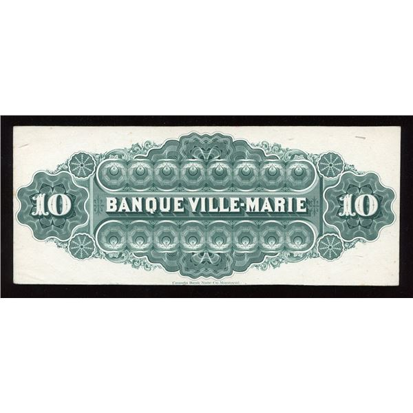 Banque Ville Marie, $10 back proof, Canada Bank Note printing, 1889