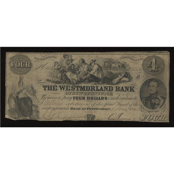 Westmorland Bank $4, 1854