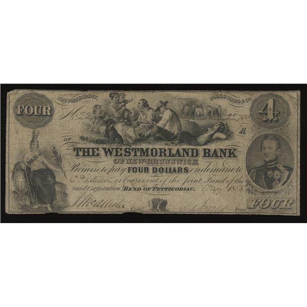 Westmorland Bank $4, 1856