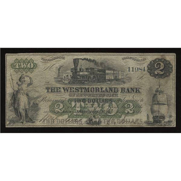 Westmorland Bank $2, 1861