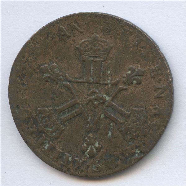 Pre-Confederation Tokens - New France ½ Sol 1712