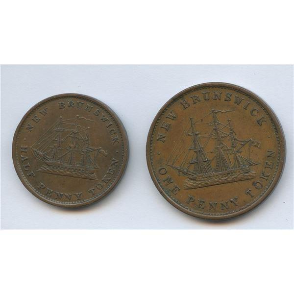 New Brunswick Half & One Penny Token Pair