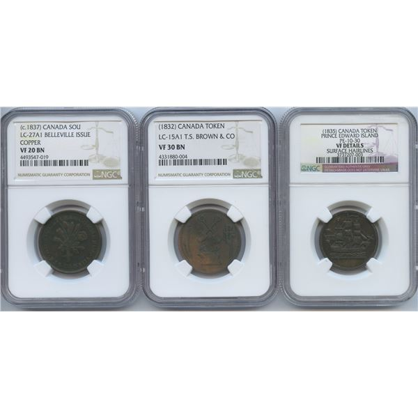 Br. 561, 691, 997. Group of three graded tokens.