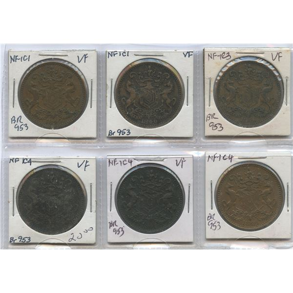 Br. 953.  Lot of six 1846 Rutherfords.