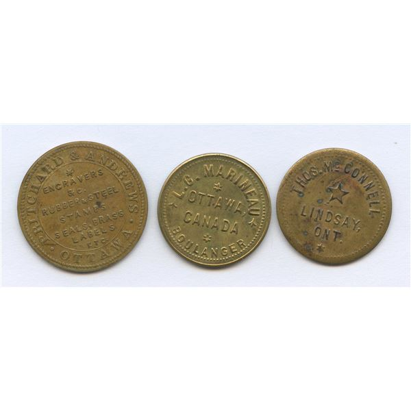 Br. 741, 764, 772.  Group of three Ontario tokens.