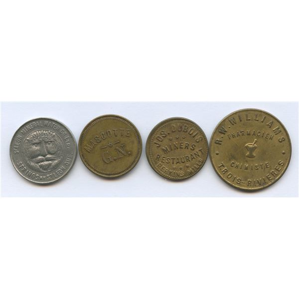 Br. 614, 618, 627, 653.  Group of four Quebec tokens.