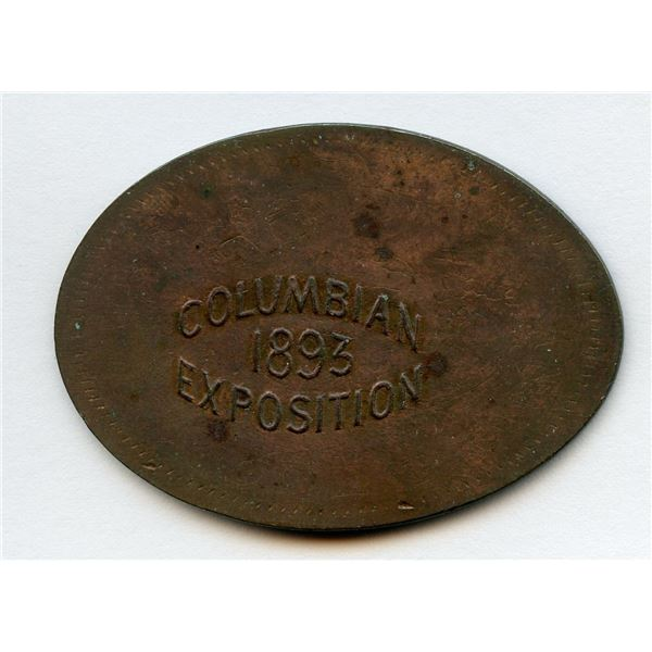 COLUMBIAN / 1893 / EXPOSITION on a Bank of Upper Canada 1850 Penny.