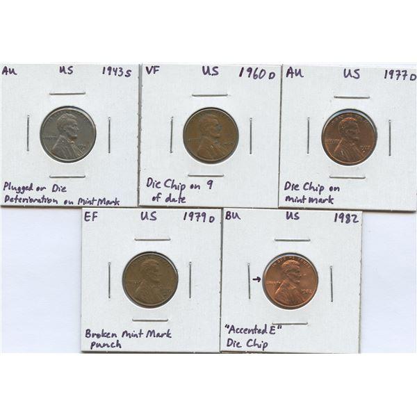 USA - 1 Cent Errors - Lot of 5