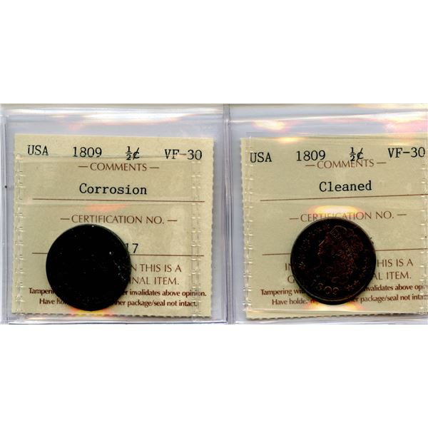 1809 USA 1/2 Cent - Lot of 2