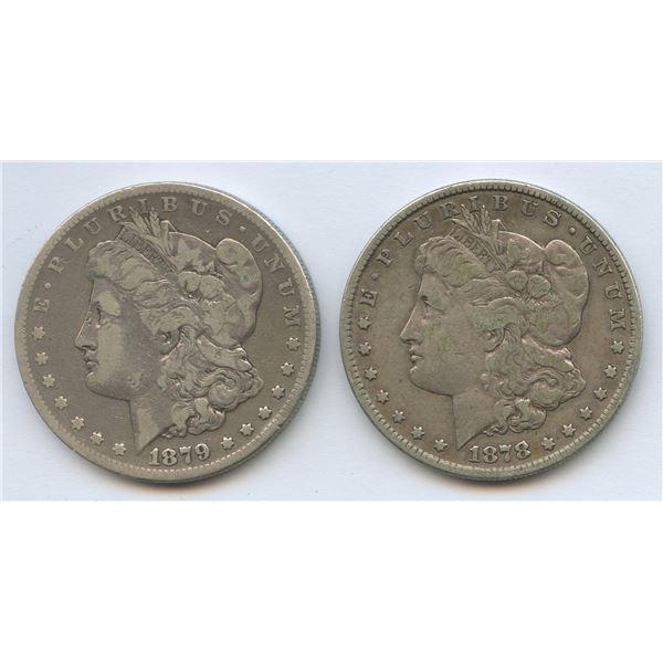 1878s & 1879s USA Morgan Silver Dollars