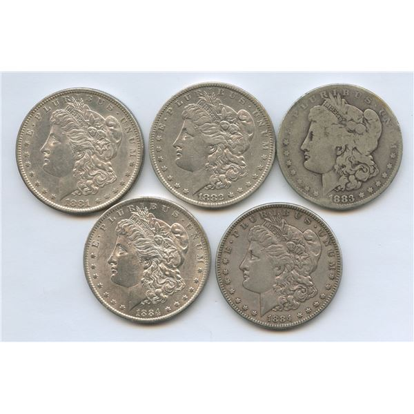 USA Morgan Silver Dollars - Lot of 5