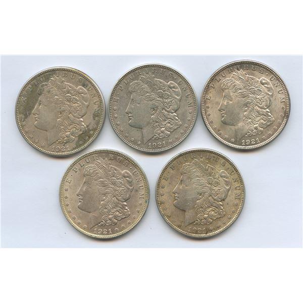 1921 USA Morgan Silver Dollars - Lot of 5