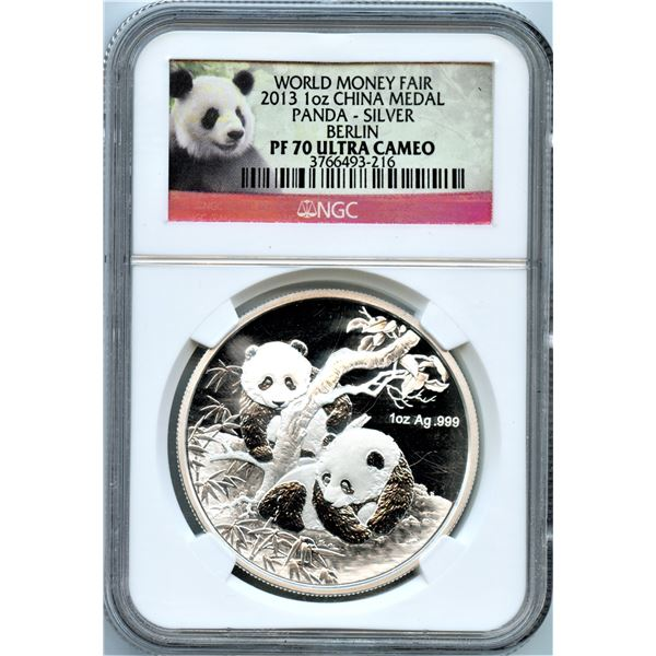 2013 China 1 oz .999 Silver Panda World Money Fair Berlin