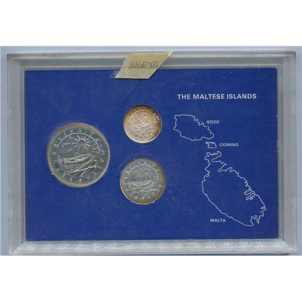 Malta - 1977 Republic of Malta 3-coin Sterling Silver Central Bank Coin Set (toned)