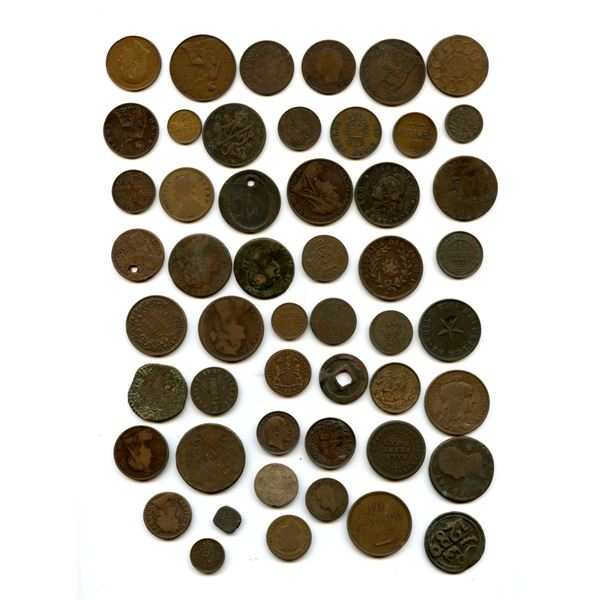 Lot of 90 base metal world coinage.