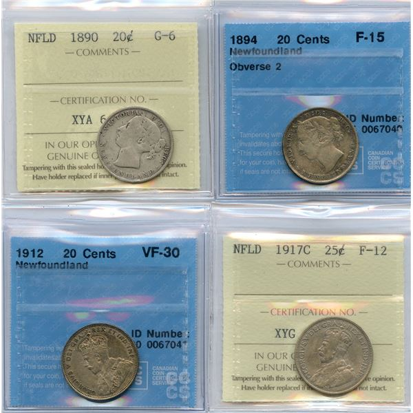 Lot of 4 Graded Newfoundland Coins
