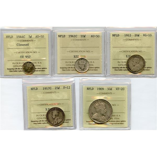 Lot of 5 ICCS Graded Newfoundland Coins