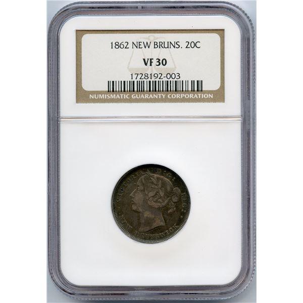 1862 New Brunswick Twenty Cents