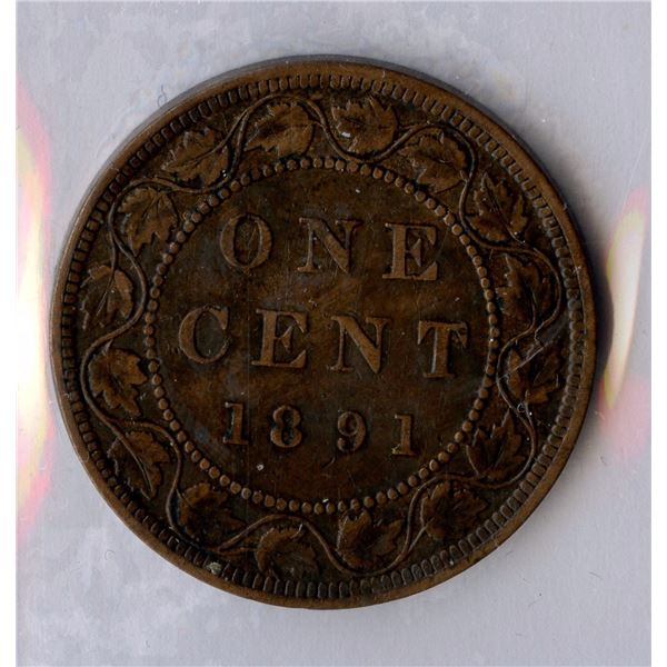 1891 One Cent - Large Leaves Small Date