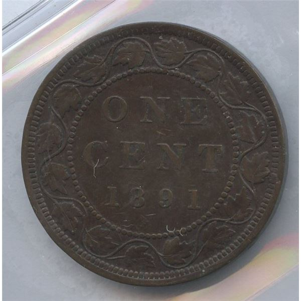 1891 One Cent - Large Leaves Small Date; Obverse 3