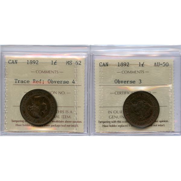 1892 One Cents - ICCS Graded Pair