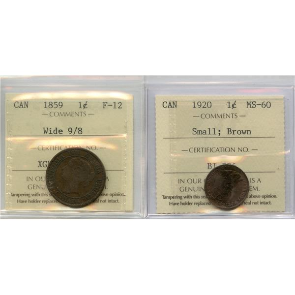 1859 & 1920 One Cents - ICCS Graded Pair