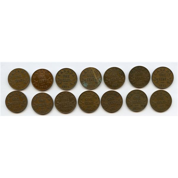 Key Date One Cents - Lot of 14 coins