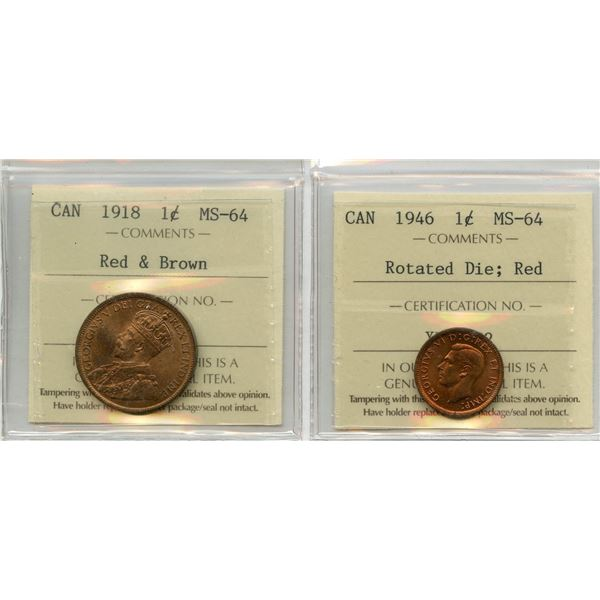 1918 & 1946 One Cent Pair - ICCS MS-64