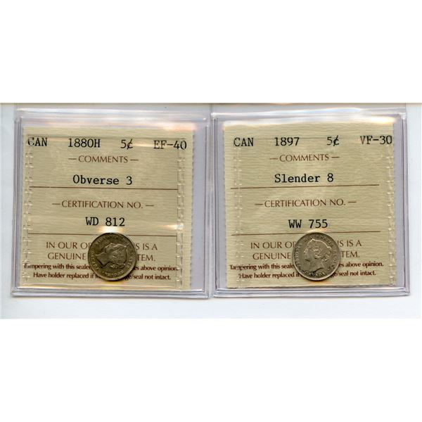 1880H, 1897 Five Cents - ICCS Graded Pair