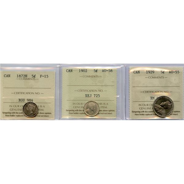 1872H, 1902, 1929 Five Cents - ICCS Graded Trio