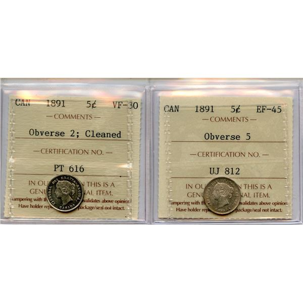 1891 Lot of 2 ICCS Graded Five Cents