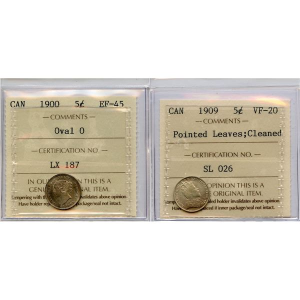 1900 & 1909 ICCS Graded Five Cents