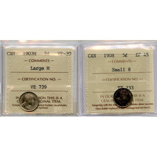 1903H & 1908 Five Cents - ICCS Graded Pair