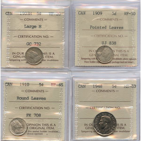 Five Cents - Lot of 4 ICCS Graded Coins