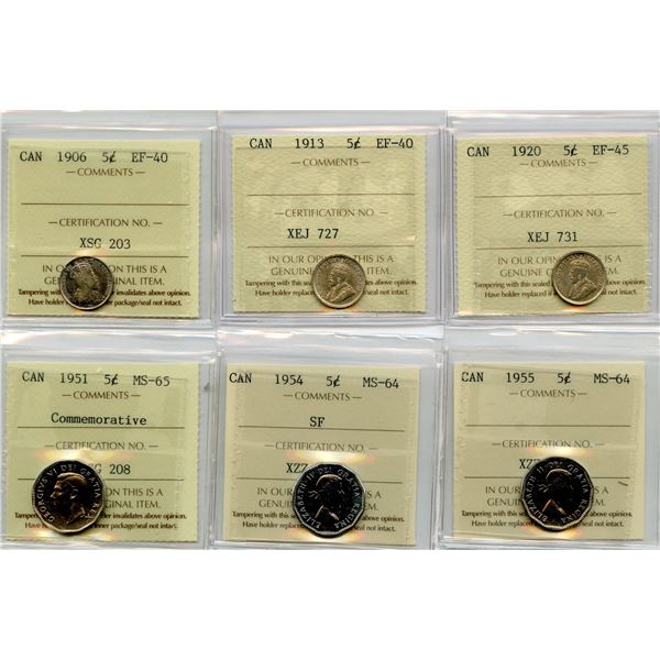 Lot of 6 - ICCS Graded Five Cents