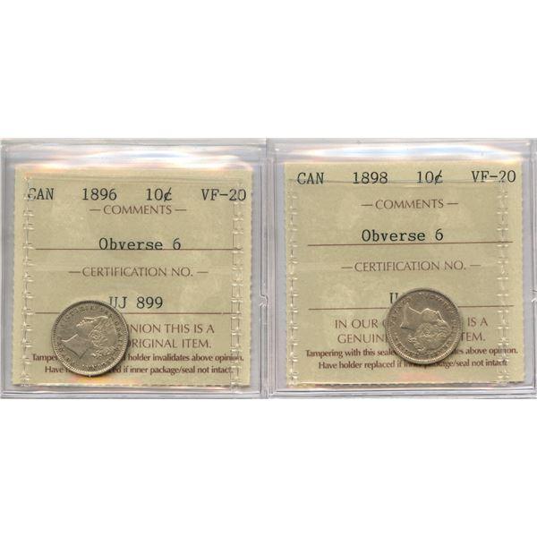 1896 & 1898 Ten Cents - ICCS Graded Pair