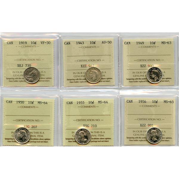 Lot of 6 - ICCS Graded Ten Cents