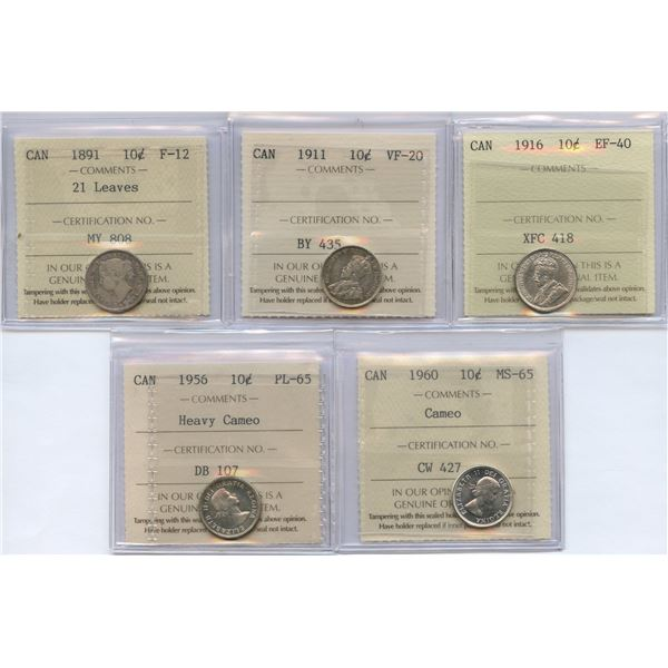 Lot of 5 - ICCS Graded Ten Cents