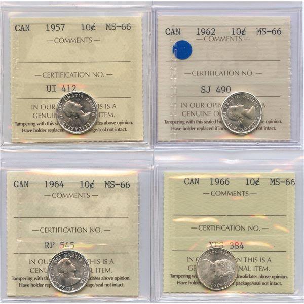 1957, 1962, 1964, 1966 Ten Cents - ICCS Graded MS-66 Lot