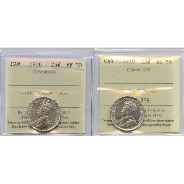 1916 & 1919 Twenty-Five Cents - ICCS Graded Lot