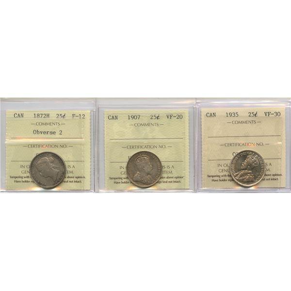 1872H, 1907, 1935 Twenty-Five Cents - ICCS Graded Trio