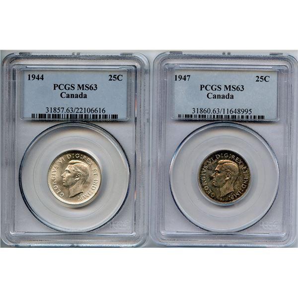 1944 & 1947 Twenty-Five Cents Pair