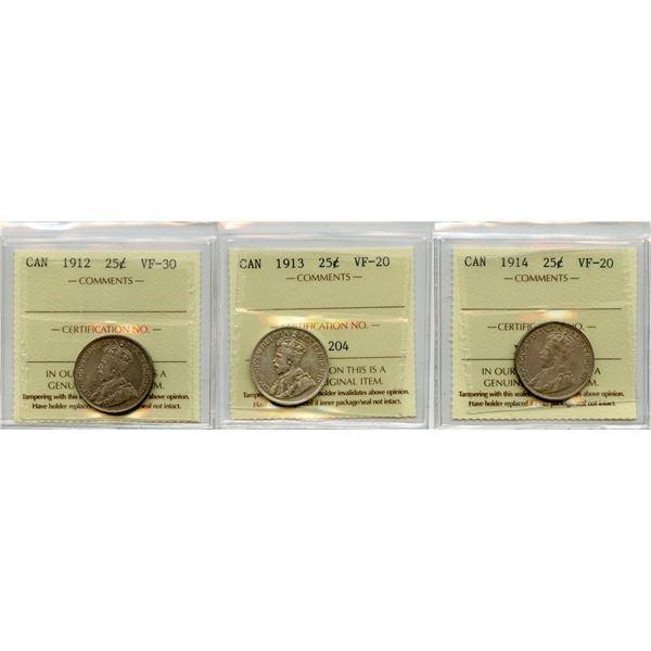 Twenty-Five Cents - Lot of 3 ICCS Graded Coins
