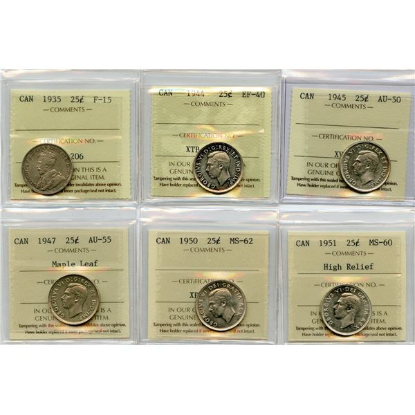 Twenty-Five Cents - Lot of 6 ICCS Graded Coins