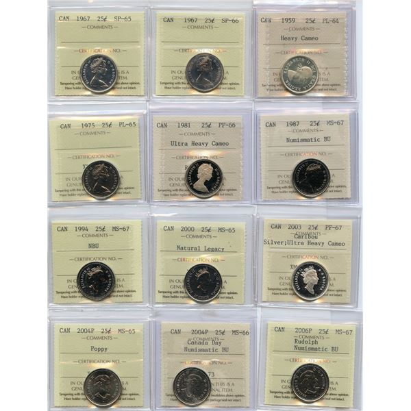 Twenty-Five Cents - Huge Lot of 28 ICCS Graded Coins