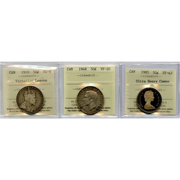 1910, 1948, 1985 Fifty Cents - ICCS Graded Trio
