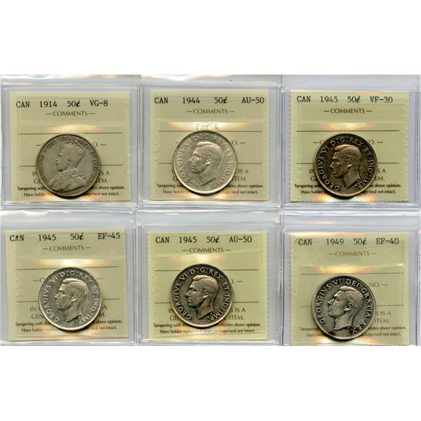 Fifty Cents - Lot of 6 ICCS Graded Coins